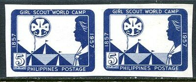 Philippines 1957 Scarce Centenary Of Scouting Mint Imperf Pair - $9 Value!