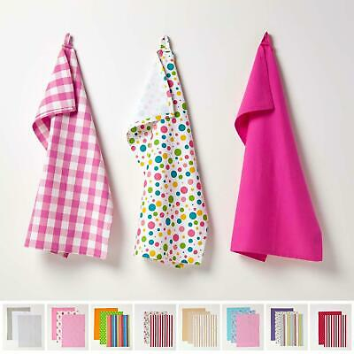 Cotton Pack of 3 Tea Towels Kitchen Linen Cleaning Cloths Check Stripe Plain