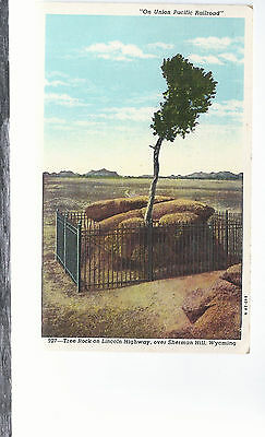 Tree Rock on Lincoln Highway Sherman Hill WY  Mailed 1943 Postcard 634