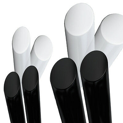 1x Metre ACETAL Black ROD Natural White Engineering Plastics Round Bar Copolymer