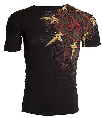 Xtreme Couture AFFLICTION Mens T-Shirt IRON Spikes Tattoo Biker Gym MMA UFC $40