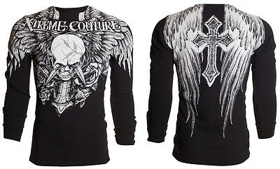 Xtreme Couture AFFLICTION Mens THERMAL T-Shirt DAGGER Tattoo Biker M-3XL $58