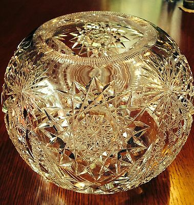 Vtg.Early American Brilliant Lead Crystal Cut Large Glass Bowl/ Vase- 1900-Heavy