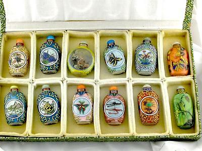 12 Piece Rare Vintage Chinese Glass Overlay Snuff Bottles Qianlong Period Stamp