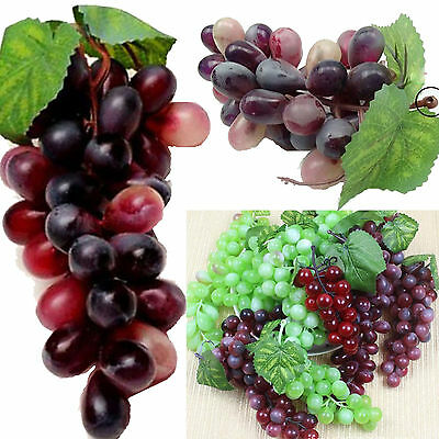 Bunch Lifelike Rubberized Artificial Grapes Plastic Fake Fruit Food Home Decor Y