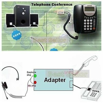 RJ9 phone Telephone to 3.5MM Headset Earphone Adapter FOR Conference Call centre