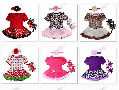 3pcs Baby Girl Outfit Clothes Newborn Infant Headband+Romper+Shoes 0-9 Months