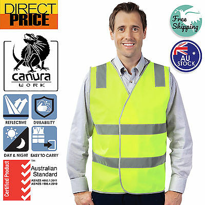 Hi Vis Safety Vest Aus Standard Reflective Tape Yellow Orange Day Night Work