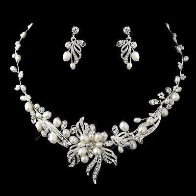 Freshwater Pearl and Crystal Wedding Jewelry Set for the Bride