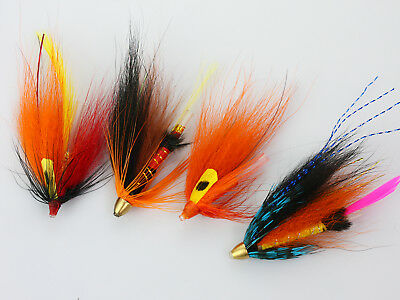 40PcsTube Flies Orange Salmon And Sea Trout Fly Fishing Lures H035-40