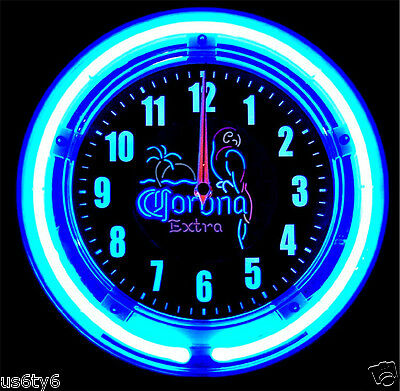 "CORONA EXTRA 11"" DIAMETER BLUE NEON CLOCK !! BEER MEXICO BEACH MANCAVE"