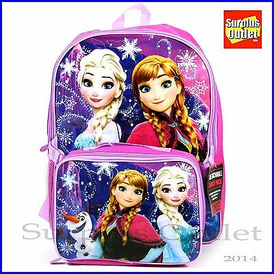 """Frozen Backpack with Detachable Lunch Bag 16"""" School Backpack  Book Bag"""
