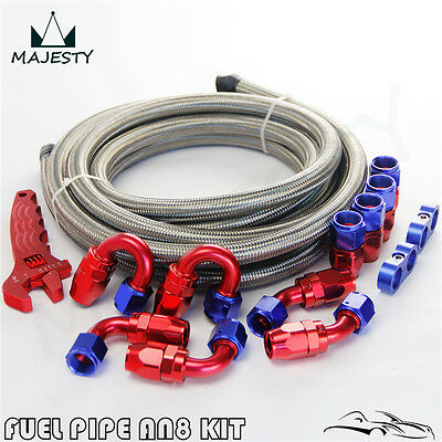 AN8 Stainess Steel Braided Oil Fuel Line  End Fitting +Wrench Tools Spanner Kit
