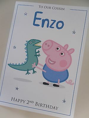 Personalised George Pig Birthday Card 1st 2nd 3rd 4th 5th 6th 7th