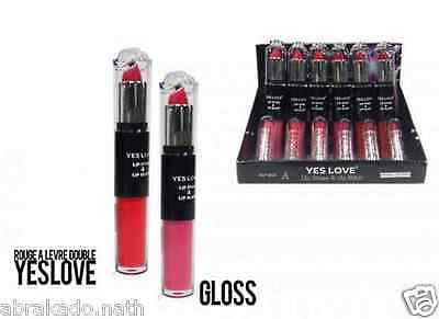 1 Double Rouge A Levre + Gloss Rose Rouge Yes Love Maquillage Levres Beaute
