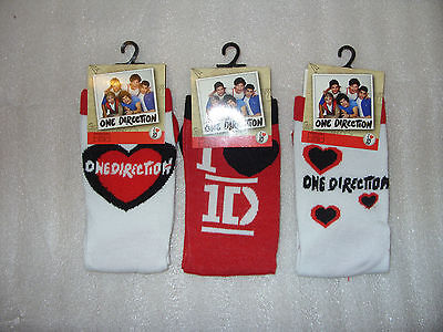 ONE DIRECTION - 1D Love Heart Girl's socks in 2 sizes and 3 Designs