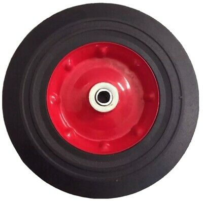 """2 x 10"""" 250mm Hand Trolley Wheels Tyre Rim 16mm Bore Puncture Proof Solid Rubber"""