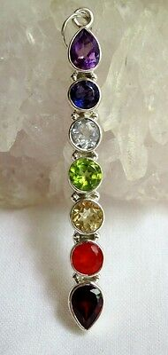 925 Sterling Silver Faceted Crystal 7 Chakra Wand Pendant~Reiki~Healing~Balance