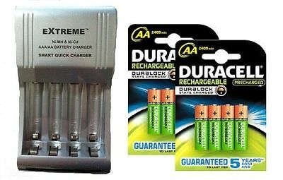 COMPACT FAST CHARGER+ 8 x AA DURACELL 2500 mAh DURALOCK RECHARGEABLE  BATTERIES