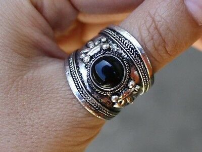 Large Adjustable Tibetan Onyx Gemstone Dorje Amulet Ring Thumb Ring