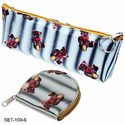 SETOF2- 3D Lenticular Teddy Bear Teddybear Pencil Case Coin Purse #SET-109-6#