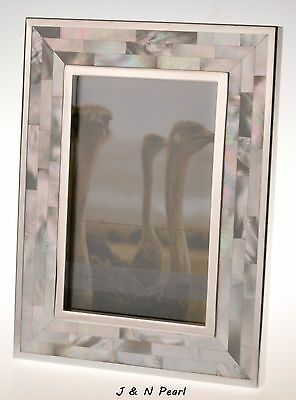"""4""""x6"""" Genuin White Mother of Pearl Picture Photo Frame Handcrafted  Inlaid"""