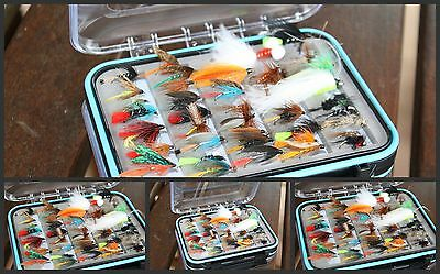 Flextec 100 or 50 Assorted Fishing Flies in Fly Box - Dry, Wet, Lures, Nymphs