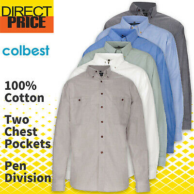 Mens Chambray Shirts Cotton Casual Business Down Blue Charcoal Work Uniforms