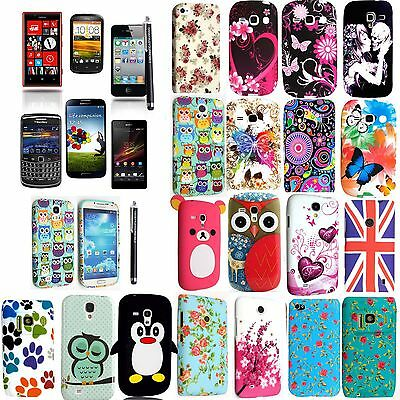 Printed Silicone Rubber Gel Case Cover For Various Phones +Free Stylus