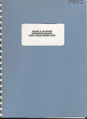 Rohde & Schwarz UPSF Video Noise Meter Operating Manual Loc RS65