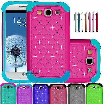 Hybrid Rubber Luxury Bling Crystal Case Cover for Samsung Galaxy S3 S III i9300
