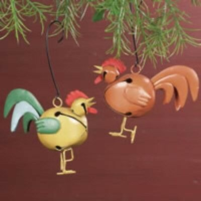 Rooster Bells Ornaments Wreath Decorations Set of 2