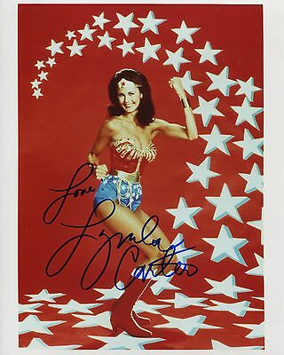 LYNDA CARTER autographed 8x10 color photo     SEXY POSE AS WONDER WOMAN