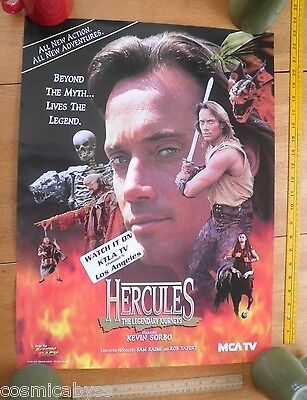 """1995 HERCULES Kevin Sorbo local TV station promo poster 18x24"""""""