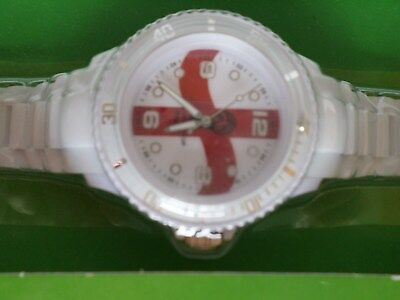 England Watch 2014 Fifa World Cup Brazil White & Red Wristwatch St Georges Cross
