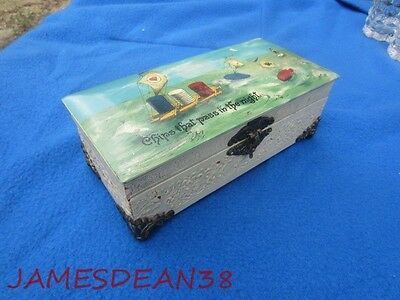 Vintage Celluloid Poker Chip Card Box Sailing Graphics Chips That Pass In Night