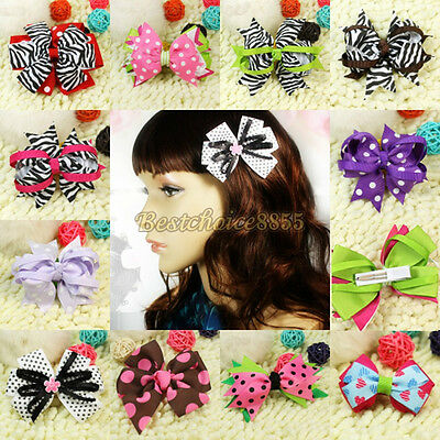 Kid Girl Baby Toddler Bowknot Bowtie Grosgrain Ribbon Boutique Hair Clip Haipin