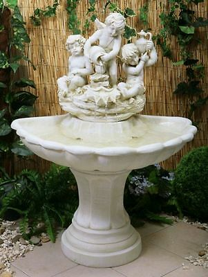 Cherub Sculpture Water Fountain Feature Cascade Classical Ivory Stone Effect