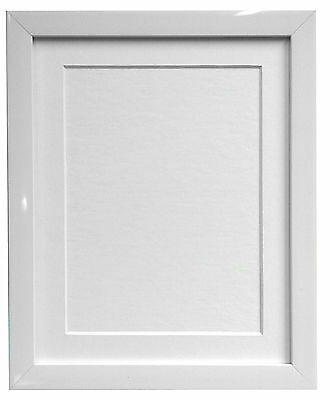 0.75 Inch Gloss White Photo Picture Frames & White Black Ivory Pink Blue Mounts