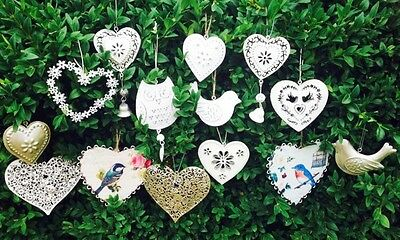Heart Collection Vintage Chic Distressed Decorations Wedding Favours.