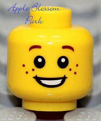 Angry Boy//Girl Child//Kid Brown Eyebrow Hair NEW Lego Happy Smile MINIFIG HEAD