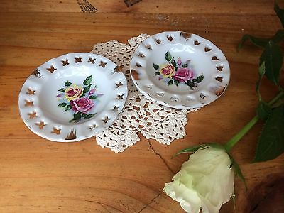 Pair Of Vintage Porcelain Pierced Small Ashtrays Shabby Chic Floral Cottage