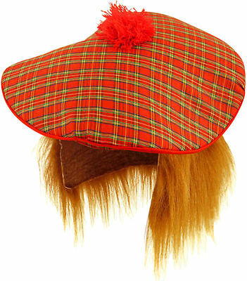Scottish Burns Tartan Hat Ginger Hair Flying Scotsman Scotland Wig Tam O Shanter