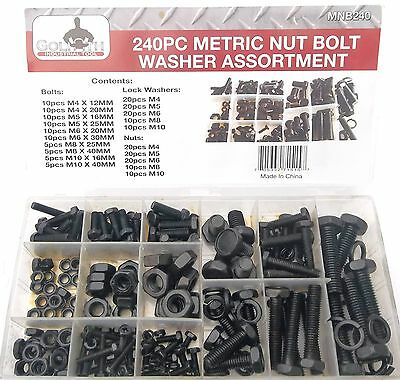 240pc GOLIATH INDUSTRIAL MNB240 BLACK METRIC NUT BOLT WASHER ASSORTMENT