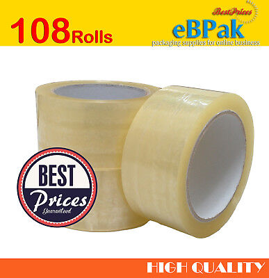 108 x Clear Packing Packaging Tape 48mm x 75m Sticky Sealing Shipping Box Carton