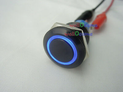 Blue 19mm 12V 5A Car Led Lighted Angel Eye Metal Push Button ON-OFF Black Switch