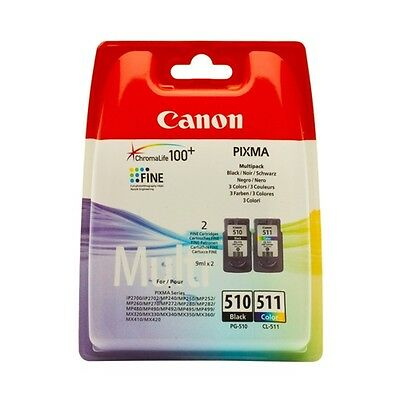 Pg-510+Cl-511-2970B010 Multipack Cartucce Originali Canon Pixma Mp230 Mp240 Mp25