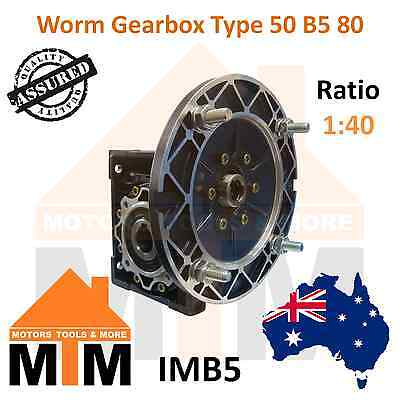 Worm Gearbox Type 50 B5 80 Input Flange 1:40 Ratio 40 Reduction