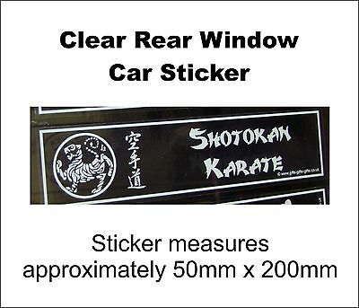 Shotokan Karate Rear Car Window  Sticker, Martial Arts, Self-Defence,