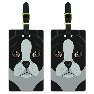 Boston Terrier Dog Pet Luggage Suitcase Carry-On ID Tags Set of 2